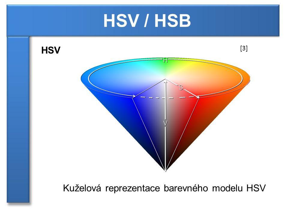 HSV / HSB HSV [3] Kuželová reprezentace barevného modelu HSV